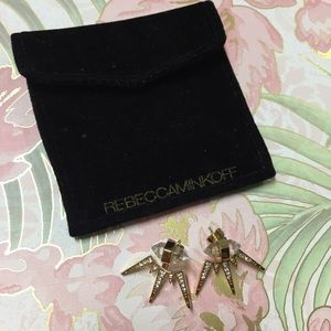 Rebecca Minkoff gold/crystal ear jacket earrings